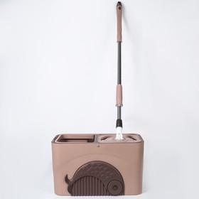 Набор для уборки: ведро с металлической центрифугой 15 л, швабра, запасная насадка, дозатор