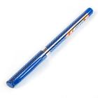 Ручка гелевая 0,5мм синяя корпус синий с серебристым, с рифленым держателем