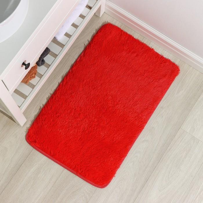 """Коврик для ванной """"Пушистик"""" 50х80 см, зелёный"""