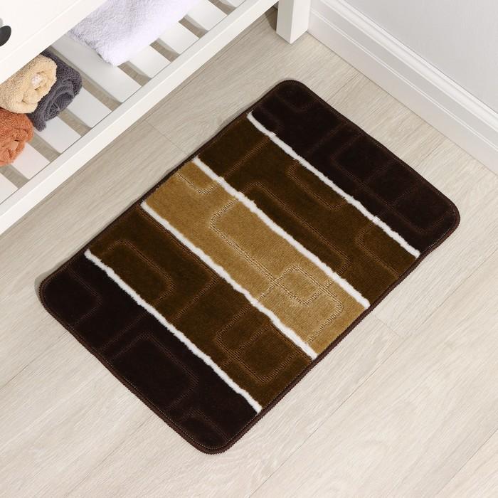 """Bath Mat """"Squares"""", color brown"""