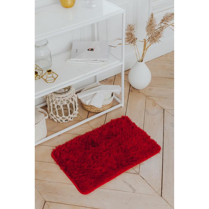 Коврик прямоугольный Доляна «Пушистик», 40×60 см, цвет бордовый - фото 7930347