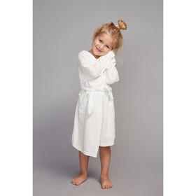 Халат махровый с капюшоном для девочки, рост 110-116 см, цвет белый 1431-60
