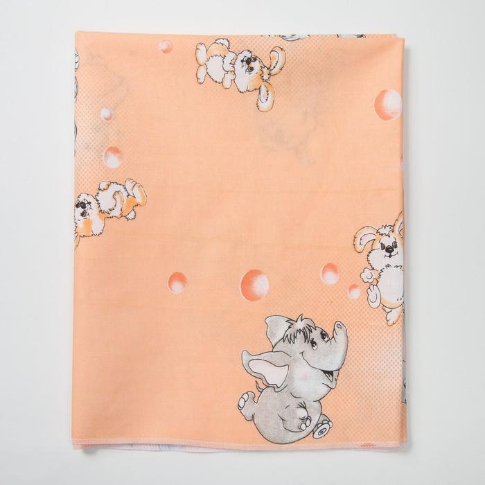 Пеленка, размер 75 х120 см, цвет персиковый, интерлок, принт микс 0045