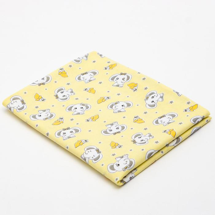 Пеленка, размер 90 х120 см, цвет желтый, интерлок, принт микс 1157