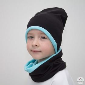 """Комплект шапка + снуд """"Колпак"""" двухсторонняя, размер 40-45 см, цвет чёрный/голубой КД-2-11-1   34070"""