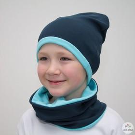 """Комплект шапка + снуд """"Колпак"""" двухсторонняя, размер 40-45 см, цвет синий/голубой КД-22-11-1   34070"""