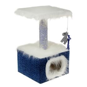 Домик маленький для кошек, мех/велюр, 34 х 34 х 60 см, синий