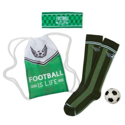 "Набор для мальчика ""Football is life"": мешок 17 х 28 см, повязка 18 х 7 см, гольфы 20-22 см (10-12 ле"