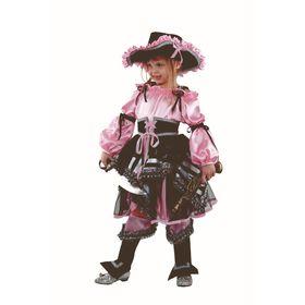 Карнавальный костюм «Пиратка», цвет цвет розовый, размер 32