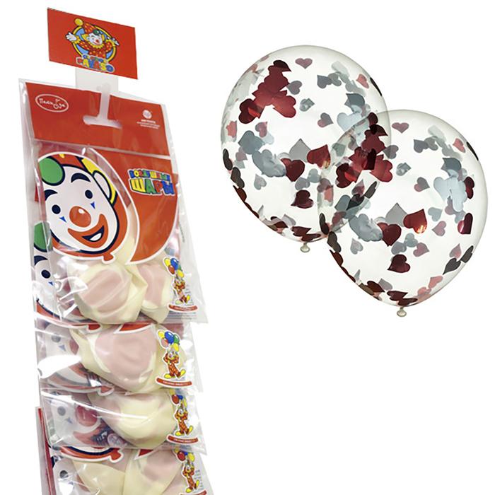 """Шар латексный на стрип-ленте 12"""" «Прозрачный с конфетти», красные сердечки из фольги, набор 2 шт. - фото 308469279"""