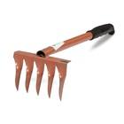 Грабли прямые, 5 витых зубцов, длина 39 см, металлический черенок, пластиковая ручка
