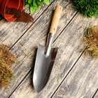 Совок пикировочно-посадочный, длина 34 см, толщина 1.5 мм, нержавеющая сталь, деревянная ручка