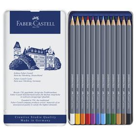Карандаши акварельные набор 12 цветов, Faber-Castell Goldfaber Aqua, в металлическом пенале