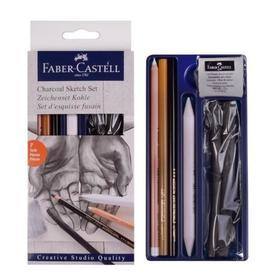 """Набор художественный Faber-Castell """"Уголь"""" 7 предметов (2 штуки древесного угля PITT (6 — 11 мм), угольный карандаш PITT Medium, мягкий угольный карандаш, белый угольный карандаш, ластик-кляча, растушёвка)"""