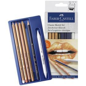 """Набор художественный Faber-Castell """"Классический"""" 6 предметов (чернографитный карандаш 2B, растушёвка, пастель в карандаше белая, сангина, сепия, карандаш масляный Medium)"""