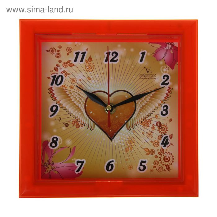 "Часы настенные квадратные ""Сердце"""