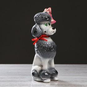 """Копилка """"Собака Пудель"""", глянец, бело-серый"""