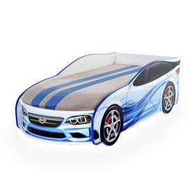 """Кровать-машина """"Форсаж мини"""", синяя, с подсветкой фар"""