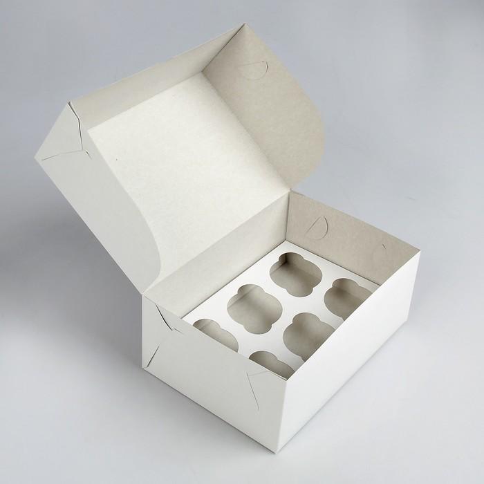Упаковка на 6 капкейков, без окна, белая 25 х 17 х 10 см - фото 308035374