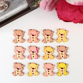 "A set of buttons decorative tree ""Honey bear"" set of 12 PCs MIX 2,7x2,2 cm"