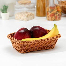 A fruit basket and bread Cappuccino