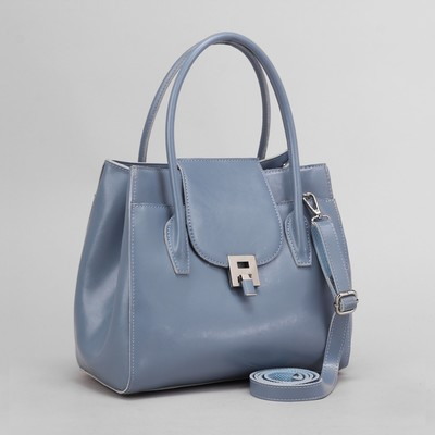 Bag for women, the division for the zipper expansion, 2 exterior pockets, a long strap, color blue