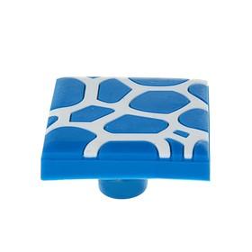 Ручка кнопка детская KID 018, 'Пятна', резиновая, синяя Ош