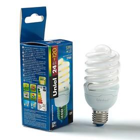 Лампа энергосберегающая Uniel, Е27, 24 Вт, 2700 К, свет тёплый Super  Lux