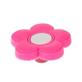 Ручка кнопка детская KID 025, 'Цветочек', резиновая, розовая Ош