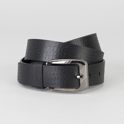Men's belt, screw, metal buckle, width 3,5 cm, color black