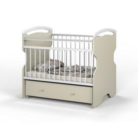 Детская кроватка Elsa на маятнике, с ящиком, цвет слоновая кость/белый