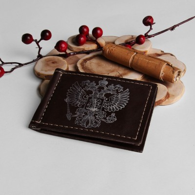 Зажим для купюр с металлическим держателем, карманы для карт,цвет коричневый