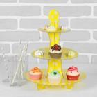 """Подставка для пирожных трёхъярусная """"Ласка"""", жёлтый цвет"""