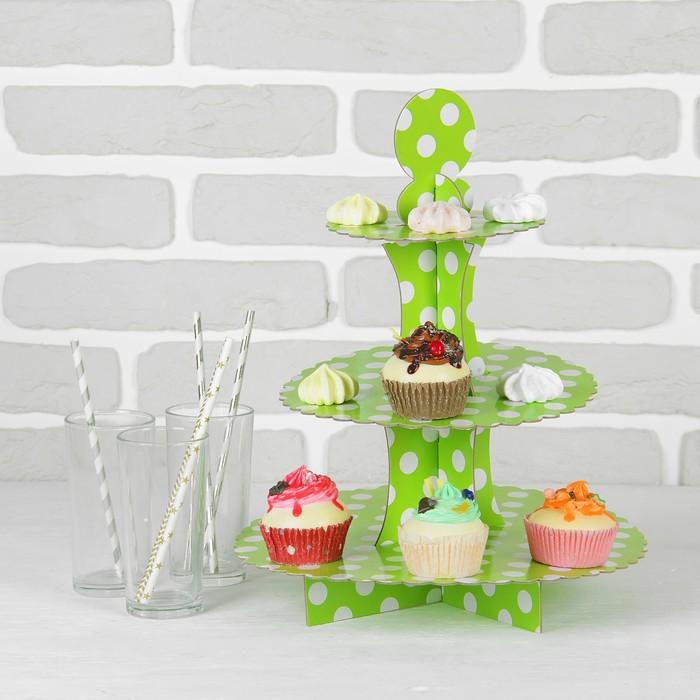 """Подставка для пирожных трёхъярусная """"Ласка"""", зелёный цвет"""