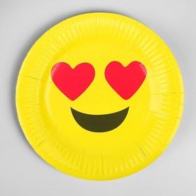 Бумажная тарелка «Влюблённый смайл», набор 6 шт. в Донецке
