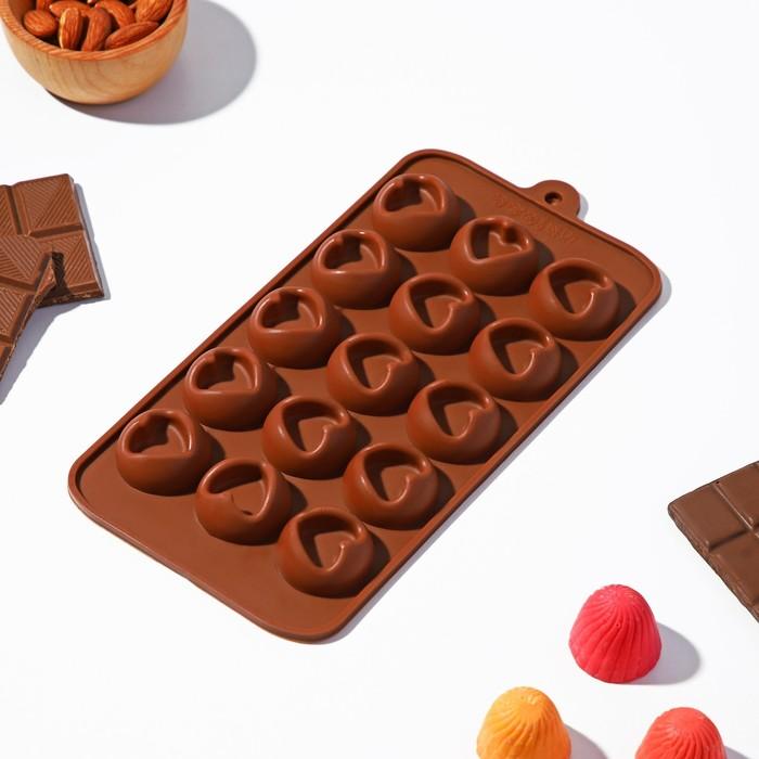 """Форма для льда и шоколада """"Сердце"""", 15 ячеек, цвет шоколадный"""