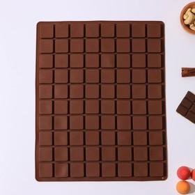 Форма для льда и шоколада 36×29,5 см «Кубики», 80 ячеек (2,8×2,8×1,2 см), цвет шоколадный