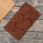 """Форма для льда и шоколада """"Сердце, звезда, дом"""", 6 ячеек, цвет шоколадный"""