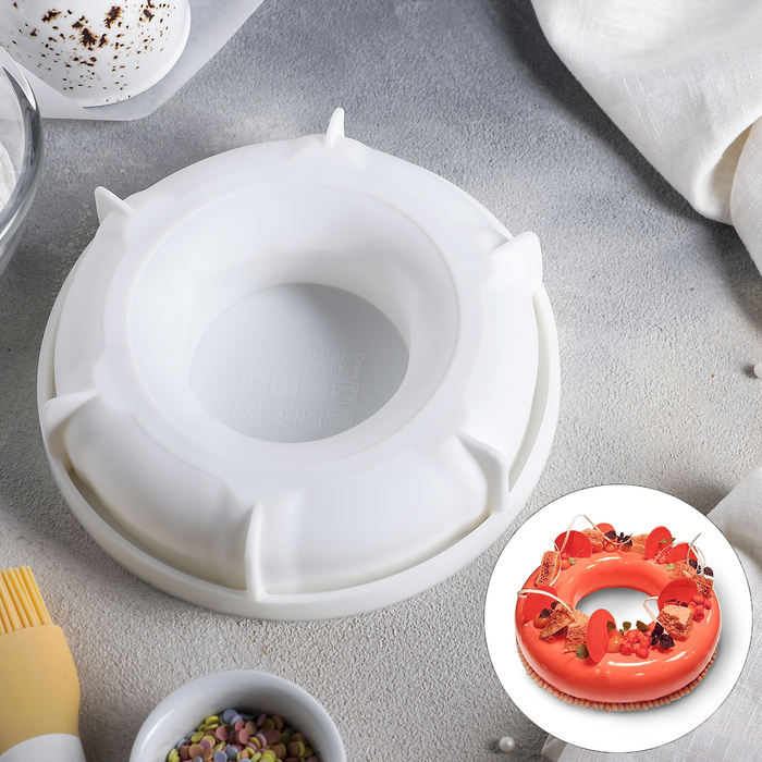 Форма для муссовых десертов и выпечки «Пончик», 17,3×4,3 см, цвет белый - фото 308045088
