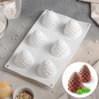 Форма для муссовых десертов и выпечки 27×16,8 см «Шишка», 6 ячеек (d=5 см), цвет белый