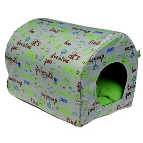 Домик-тоннель для животных, оксфорд/поролон/флис, 46 х 33 х 33 см