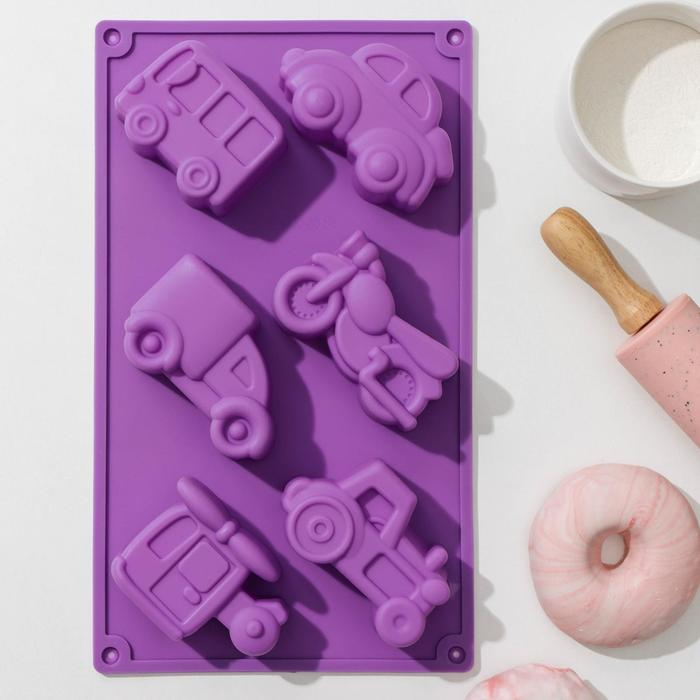 Форма для выпечки Доляна «Транспорт», 30×17,5 см, 6 ячеек (9×5,5×3,5 см), цвет МИКС - фото 308045831