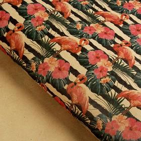 Бумага упаковочная крафт 'Розовый фламинго', 70 х 100 см Ош
