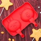 """Форма для леденцов и мороженого, 2 ячейки, """"Зайка и мишка"""", цвет красный"""