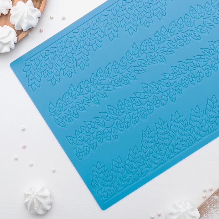 """Коврик для айсинга 39×28,7 см """"Листики"""", 4 полосы, цвет МИКС"""