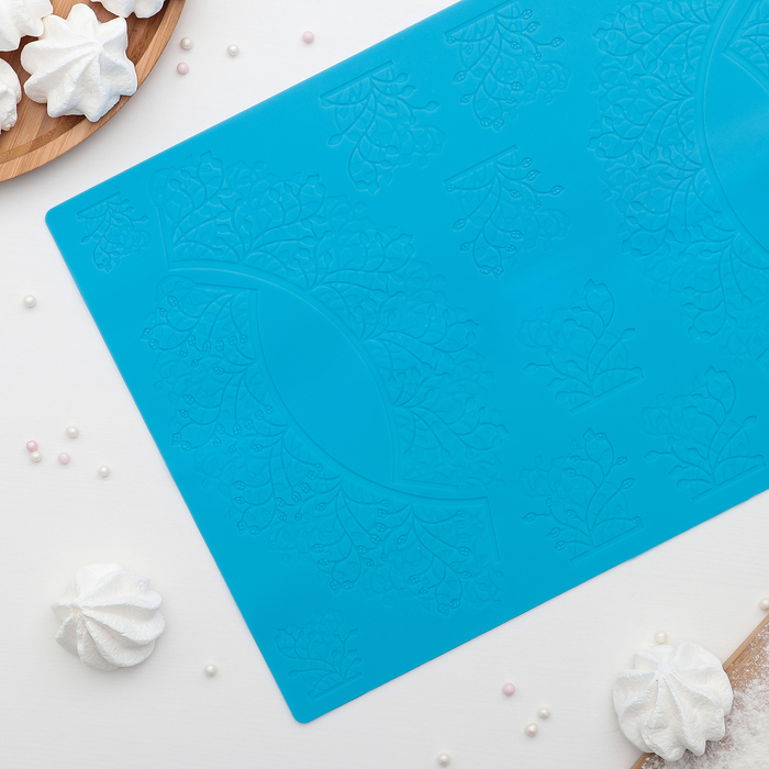 """Коврик для айсинга 36,7×25 см """"Акация"""", цвет голубой"""