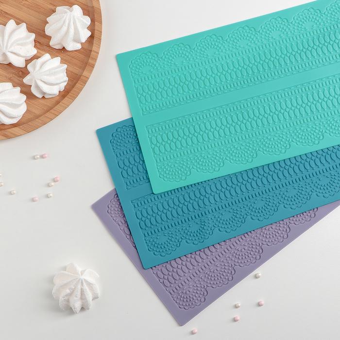 Коврик для айсинга «Лепота», 2 полосы, 38,6×16,1 см, цвет МИКС