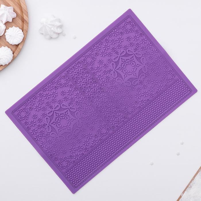 """Коврик для айсинга 35,1×23,3 см """"Поле ромашек"""", цвет фиолетовый"""