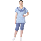 Пижама женская (футболка, бриджи) Цветочек синий, р-р 48