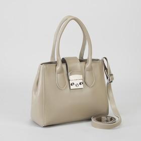 Сумка женская, отдел на молнии, с расширением, наружный карман, длинный ремень, цвет хаки